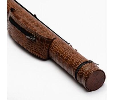 Чехол для кия тубус с карманом на змейке коричневый крокодил