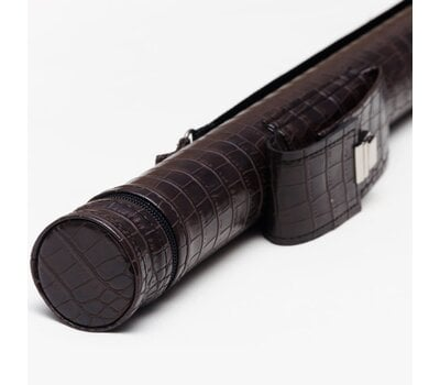Чехол тубус 2 кармана для кия с удлинителем шоколад крокодил