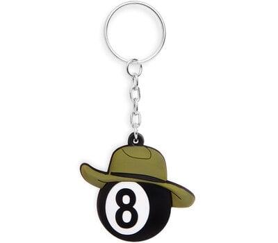 Брелок бильярдный шар №8 в шляпе